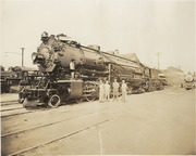 [Southern Pacific Railroad steam locomotive No. 5004 and crew]