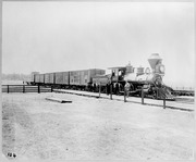 [Central Pacific Railroad steam locomotive second No. 135 and freight train]