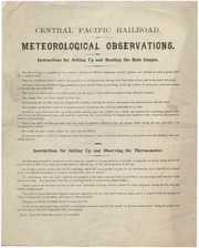 [Central Pacific Railroad instructions for making meteorological observations]