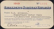 [Sacramento Northern Railroad travel pass]