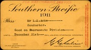 [Southern Pacific Railroad travel pass]