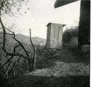 Leaning outhouse of a cabin in Topanga, California