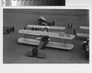 Swallow Biplane and Pacific Air Transport biplane on Airfield at Mills Field, ca. 1927