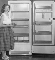 Sales Clerk Shows Refrigerator, Tulare County, Calif., ca 1950s