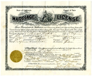 1926 Marriage License for Alexander Hackett and Effie Cox Hackett, Parents of Irene Button 1