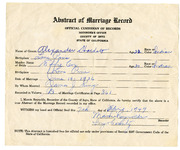 1949 Abstract of Marriage License for Alexander Hackett and Effie Cox Hackett, Parents of Irene Button