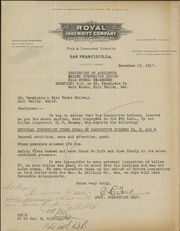 Letter from Royal Indemnity Company to Mt. Tamalpais & Muir Woods Railway