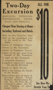 Advertisement for a two-day excursion on Mt. Tamalpais