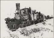 Mt. Tamalpais & Muir Woods Railway Engine No. 8 in snow on Mt. Tamalpais