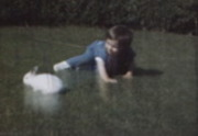 Clark Family Home movies Baby Pam and R.B. Play with Rabbits