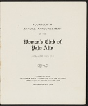 14th Annual Announcement of the Woman's Club of Palo Alto: 1909-1910
