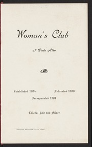 Woman's Club of Palo Alto Yearbook: 1904