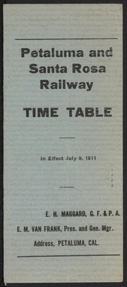 Petaluma and Santa Rosa Railway Time Table
