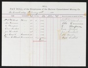 Bulwer Consolidated Mining Co. Payroll, 1885/1889